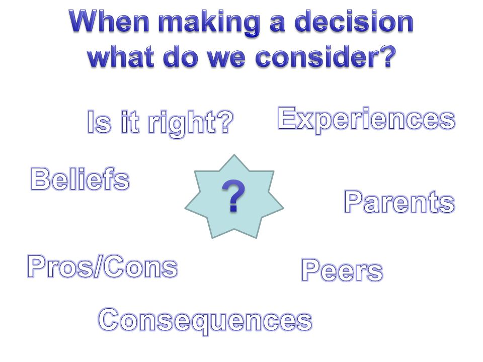 When making a decision what do we consider Experiences Is it right