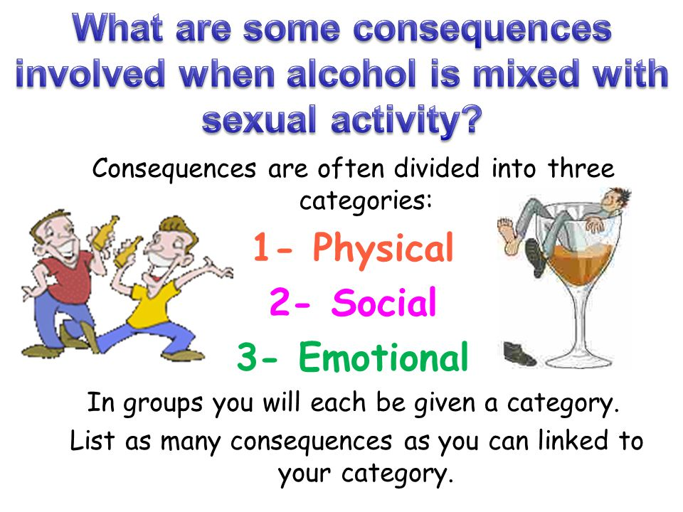What are some consequences involved when alcohol is mixed with sexual activity