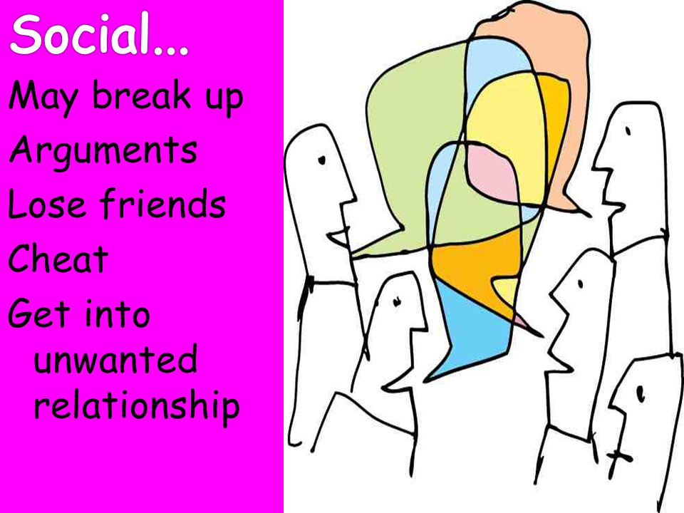 Social... May break up Arguments Lose friends Cheat Get into unwanted relationship