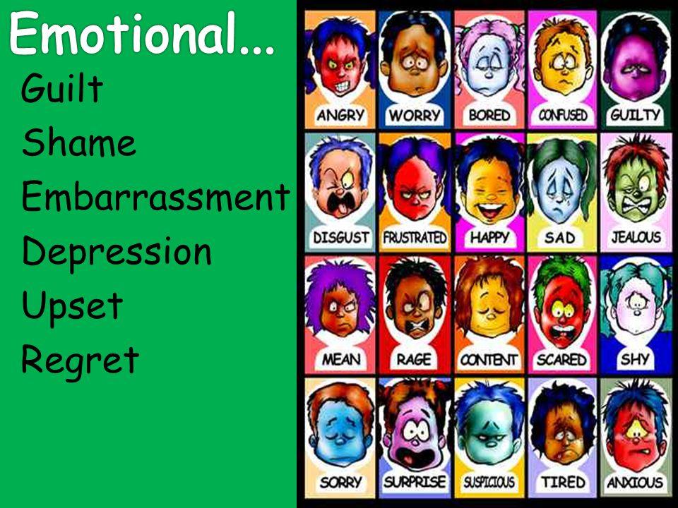 Emotional... Guilt Shame Embarrassment Depression Upset Regret