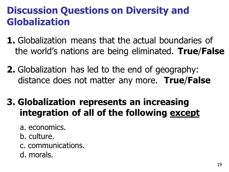 Discussion Questions on Diversity and Globalization