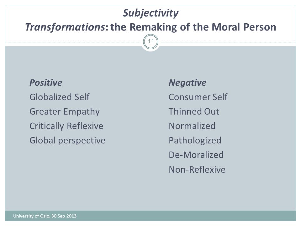 Subjectivity Transformations: the Remaking of the Moral Person