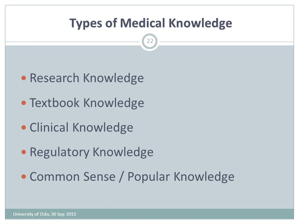 Types of Medical Knowledge