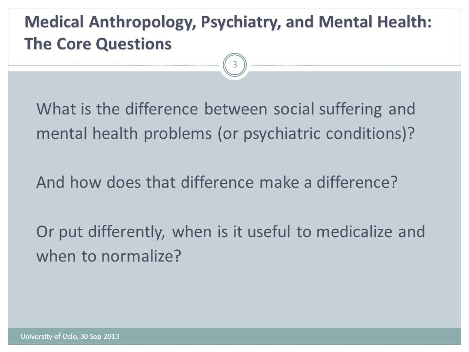 Medical Anthropology, Psychiatry, and Mental Health: The Core Questions