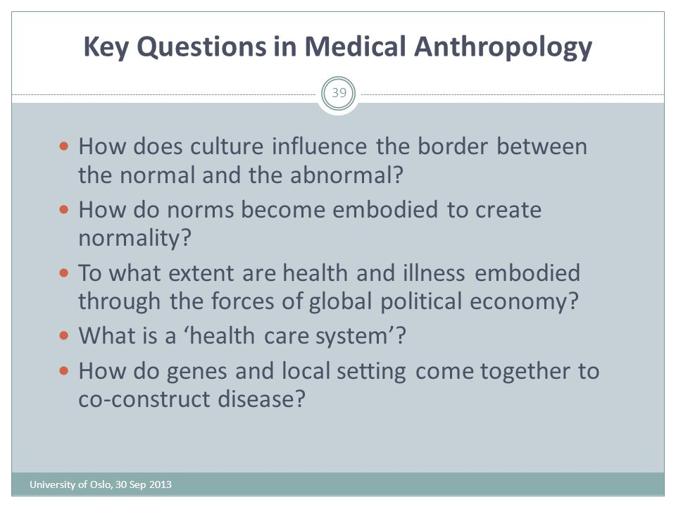 Key Questions in Medical Anthropology