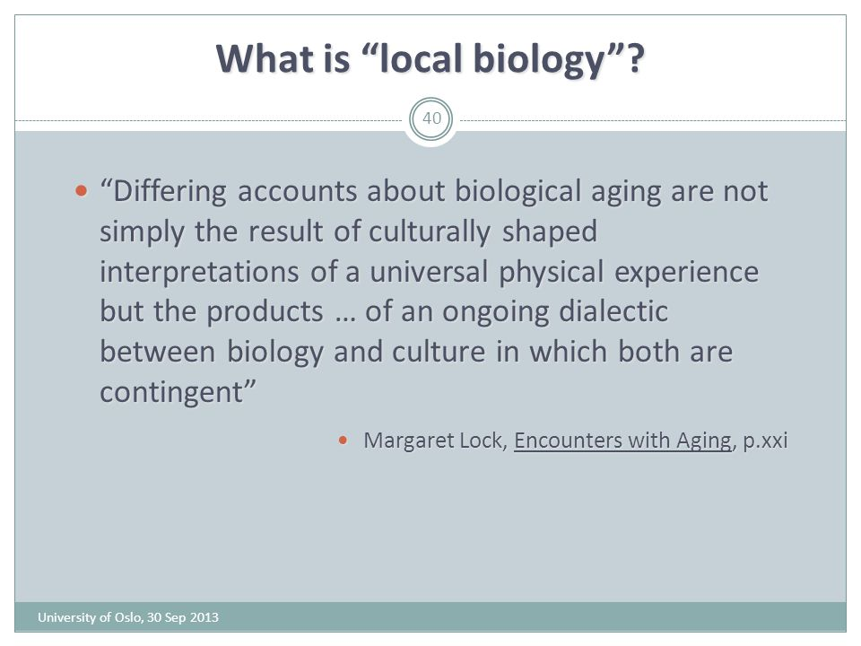 What is local biology