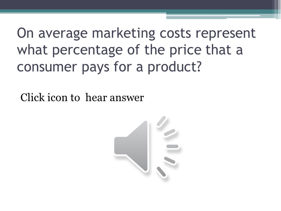 On average marketing costs represent what percentage of the price that a consumer pays for a product