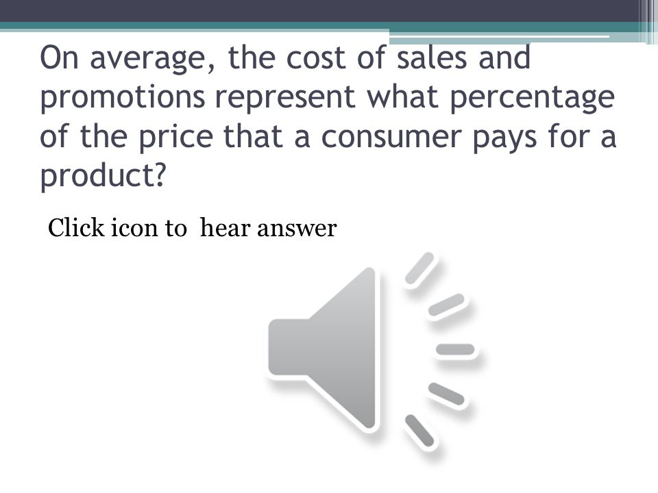 On average, the cost of sales and promotions represent what percentage of the price that a consumer pays for a product