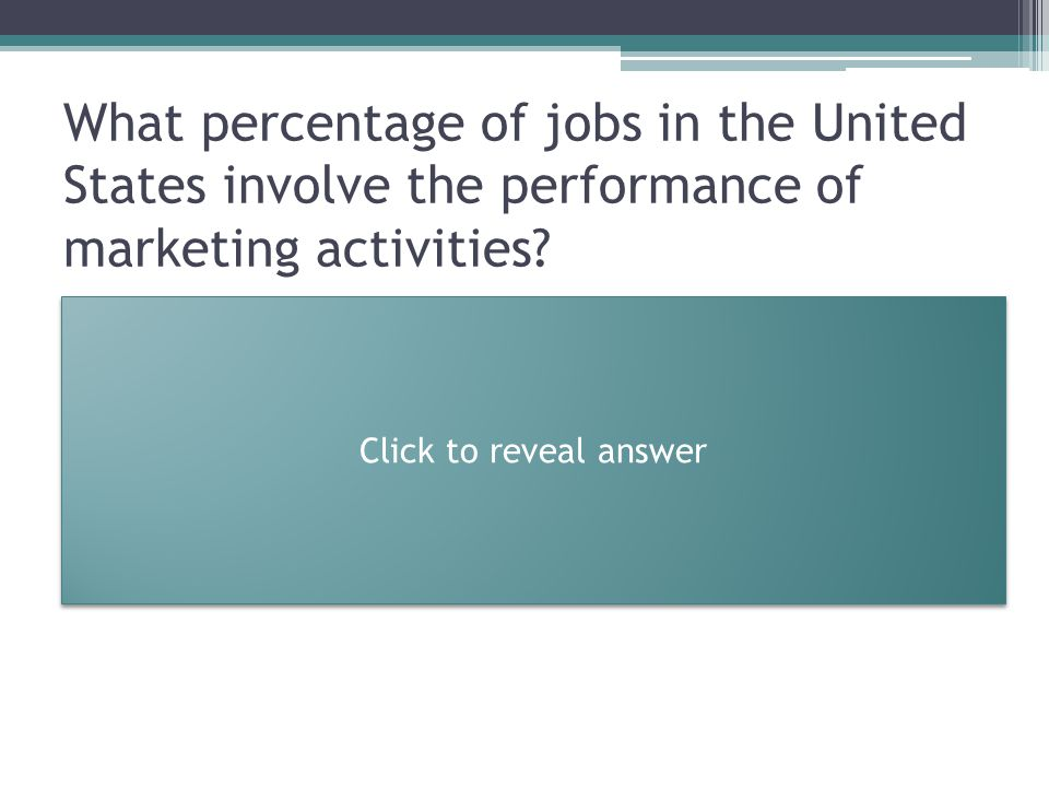 What percentage of jobs in the United States involve the performance of marketing activities