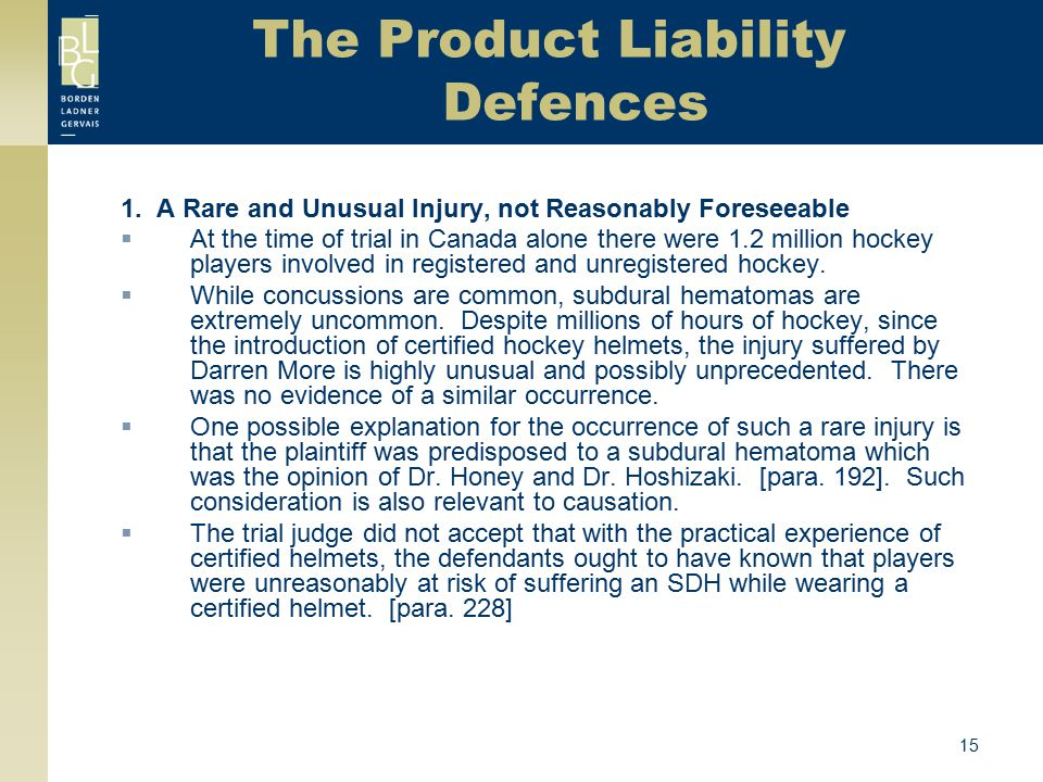 The Product Liability Defences