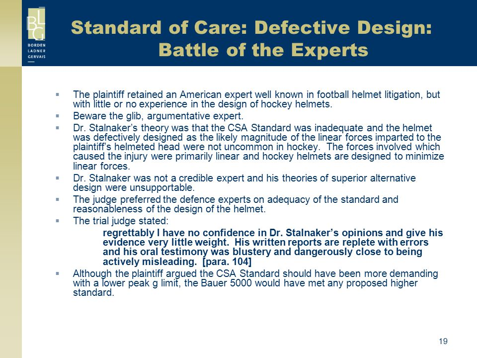 Standard of Care: Defective Design: Battle of the Experts