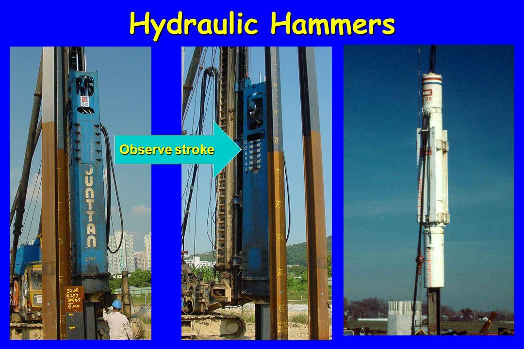 Hydraulic Hammers Observe stroke