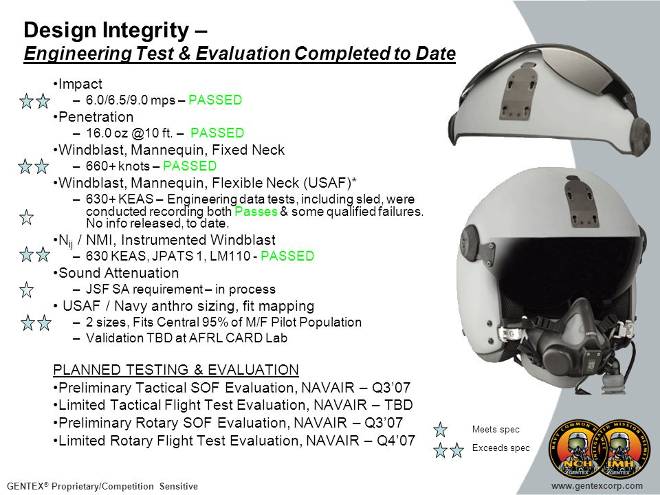 Design Integrity – Engineering Test & Evaluation Completed to Date