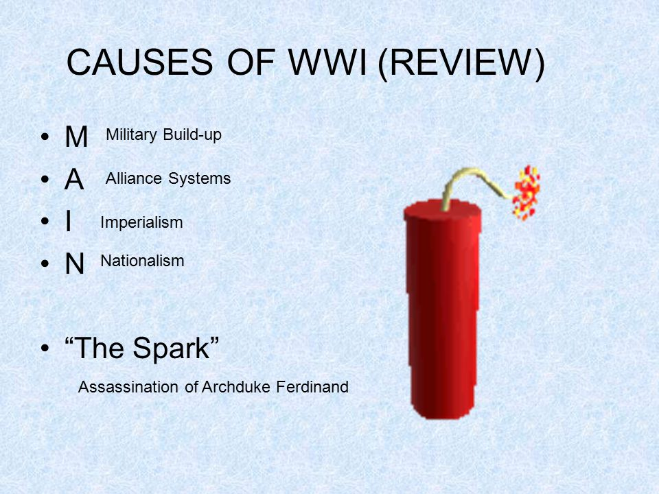 CAUSES OF WWI (REVIEW) M A I N The Spark Military Build-up