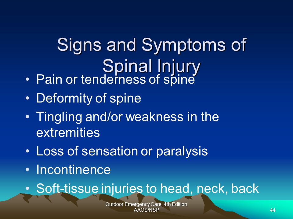 Signs and Symptoms of Spinal Injury