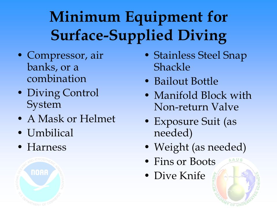 Minimum Equipment for Surface-Supplied Diving