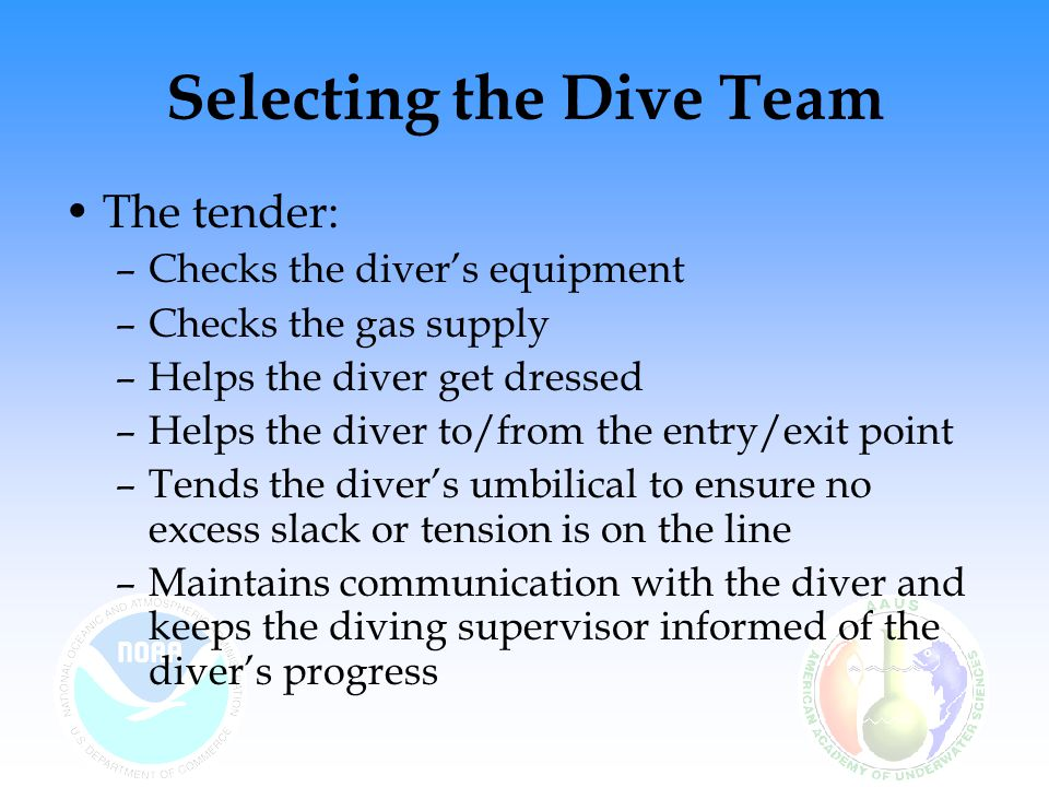 Selecting the Dive Team