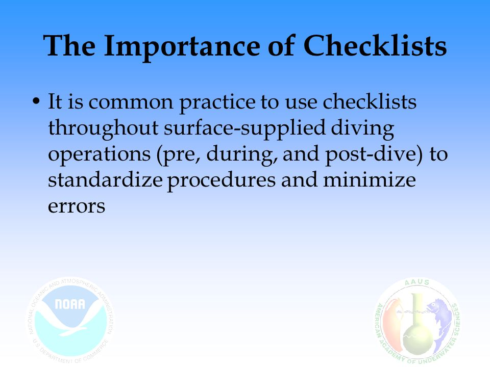 The Importance of Checklists