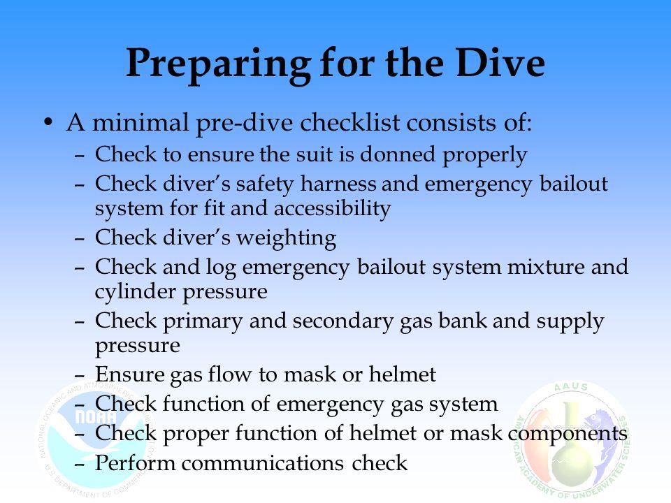 Preparing for the Dive A minimal pre-dive checklist consists of: