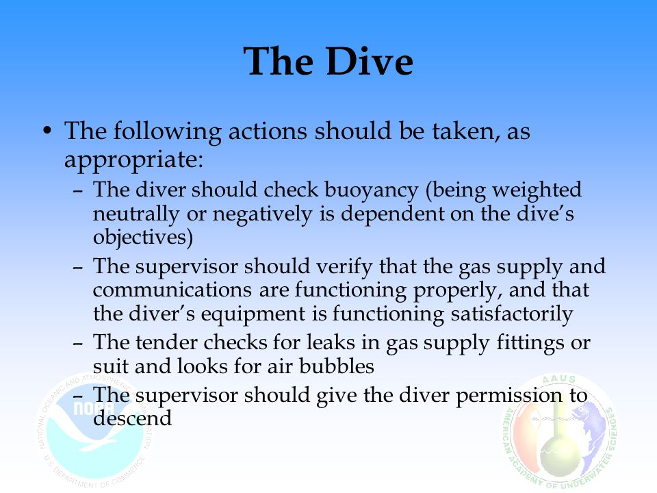 The Dive The following actions should be taken, as appropriate: