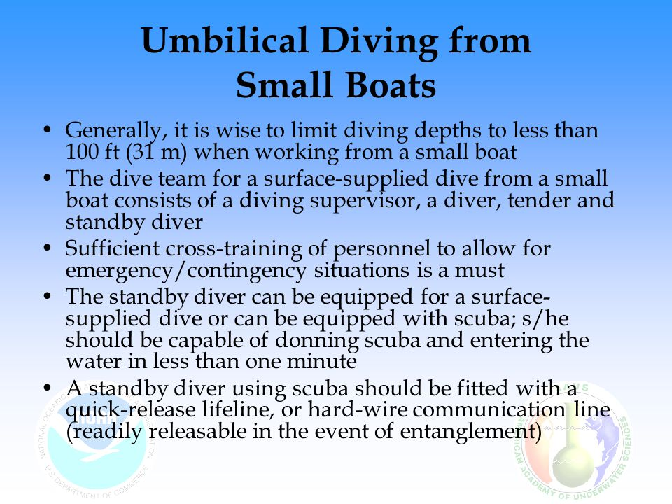 Umbilical Diving from Small Boats