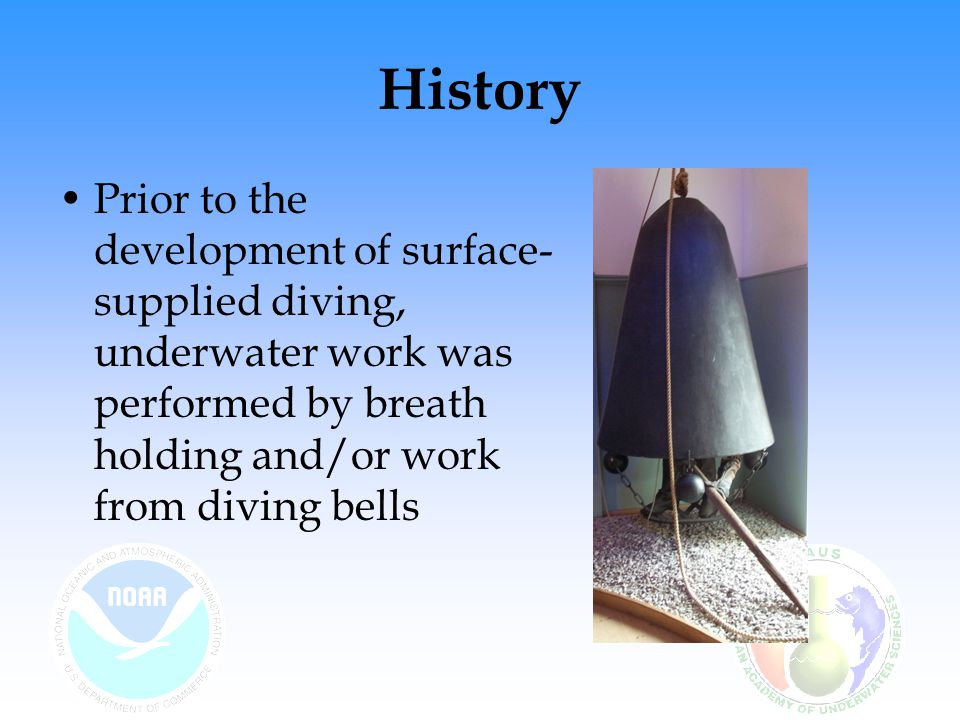 History Prior to the development of surface-supplied diving, underwater work was performed by breath holding and/or work from diving bells.
