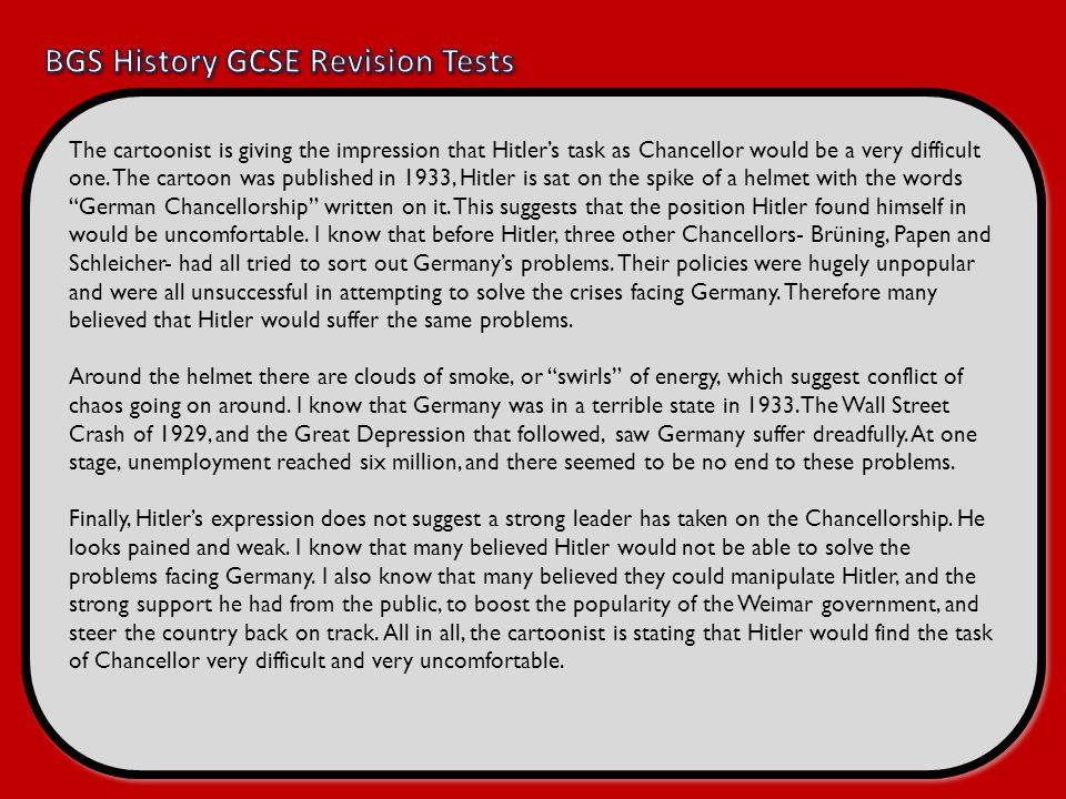 BGS History GCSE Revision Tests