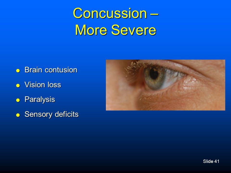 Concussion – More Severe