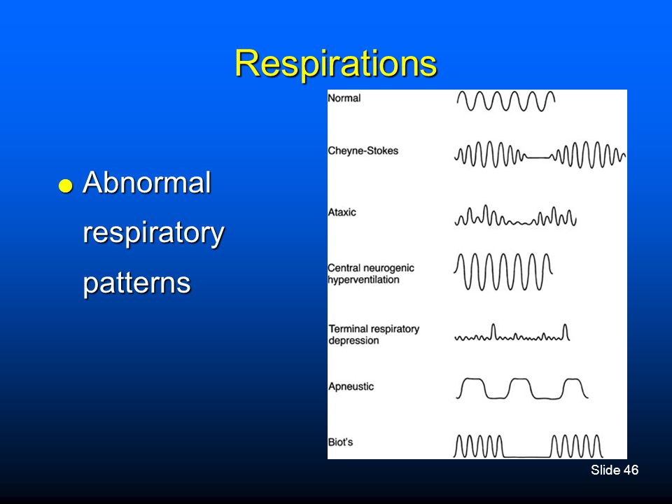 Respirations Abnormal respiratory patterns