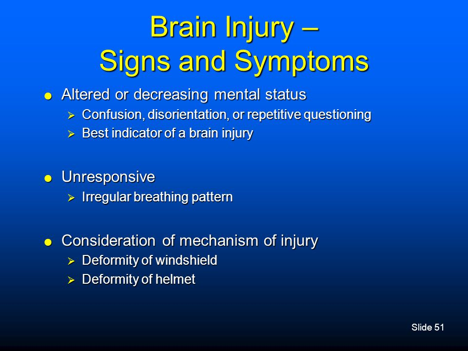 Brain Injury – Signs and Symptoms