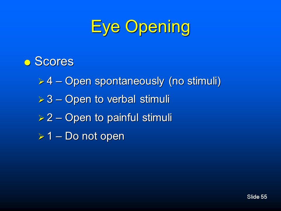 Eye Opening Scores 4 – Open spontaneously (no stimuli)