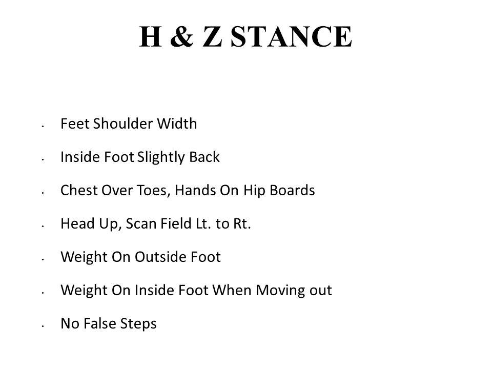 H & Z STANCE Feet Shoulder Width Inside Foot Slightly Back