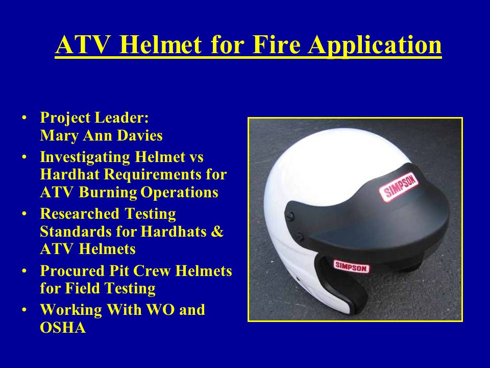 ATV Helmet for Fire Application