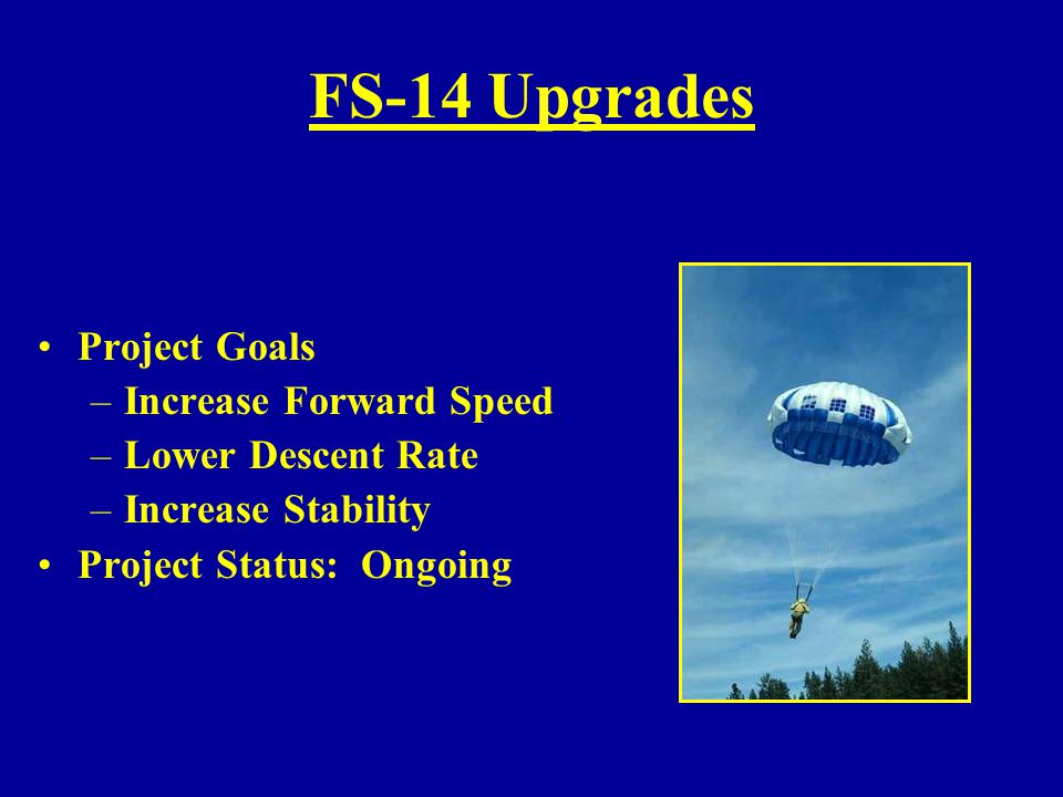 FS-14 Upgrades Project Goals Increase Forward Speed Lower Descent Rate