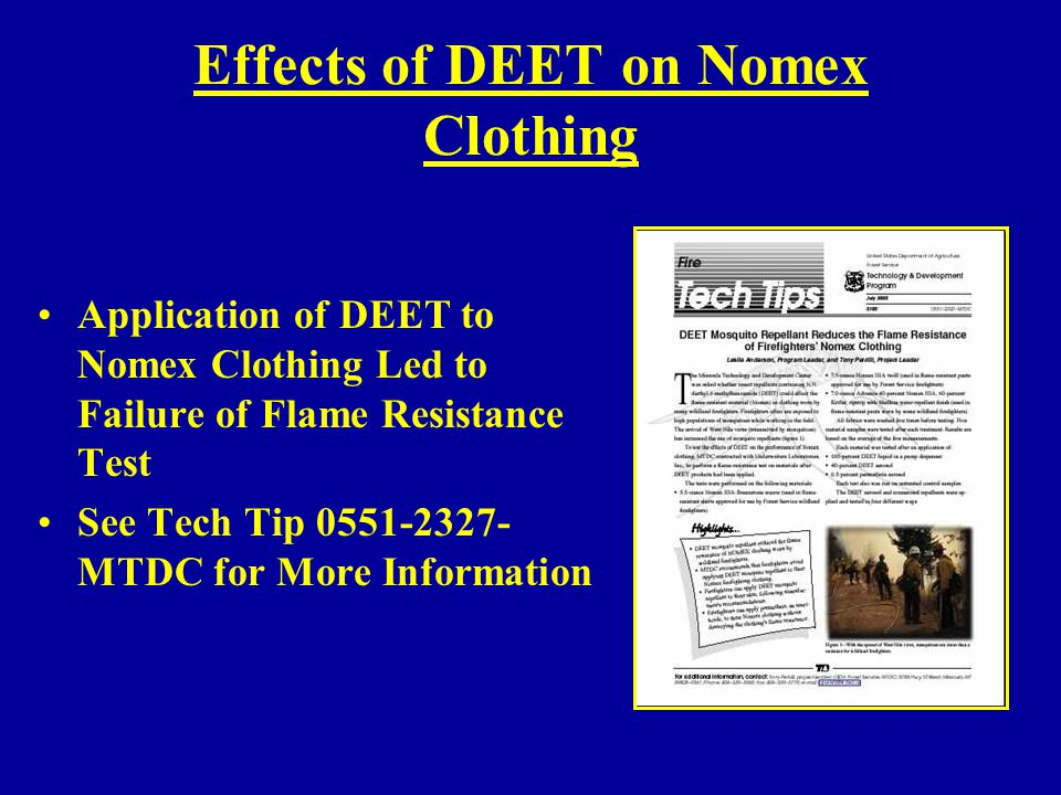 Effects of DEET on Nomex Clothing