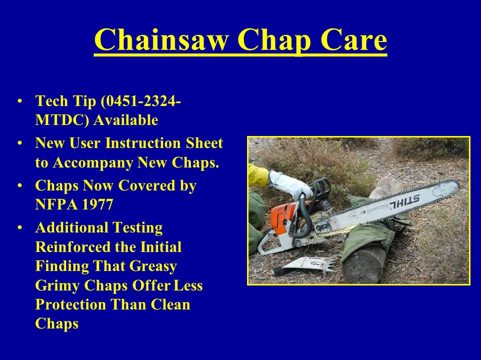 Chainsaw Chap Care Tech Tip (0451-2324-MTDC) Available