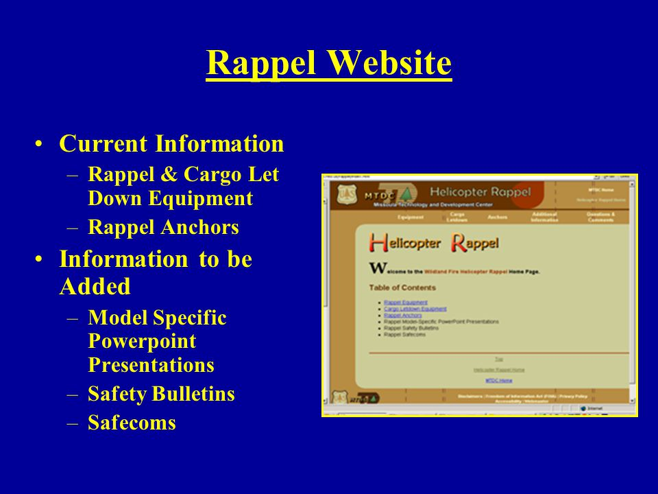 Rappel Website Current Information Information to be Added