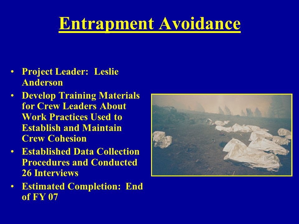 Entrapment Avoidance Project Leader: Leslie Anderson