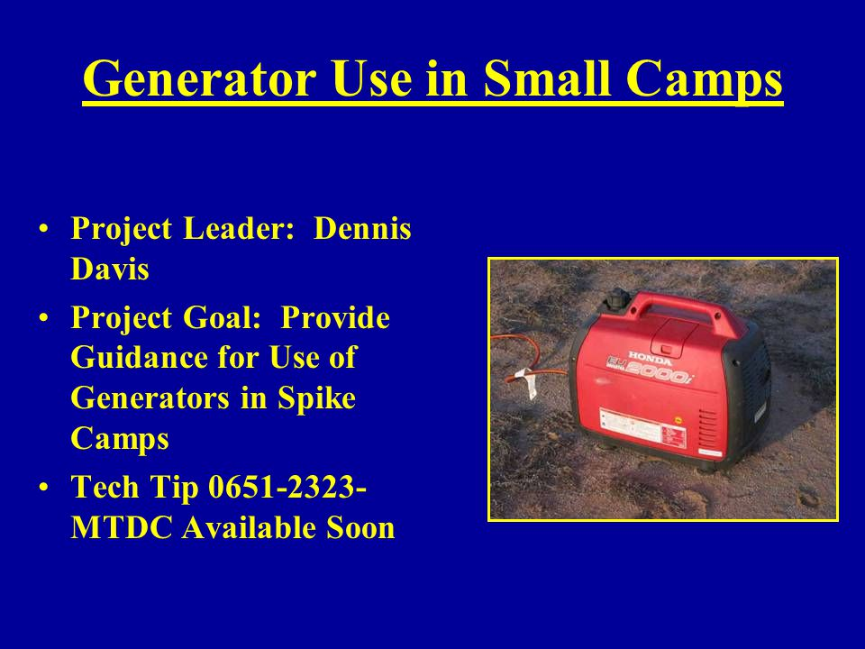 Generator Use in Small Camps