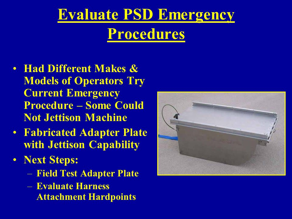 Evaluate PSD Emergency Procedures