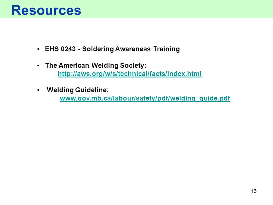 Resources EHS 0243 - Soldering Awareness Training