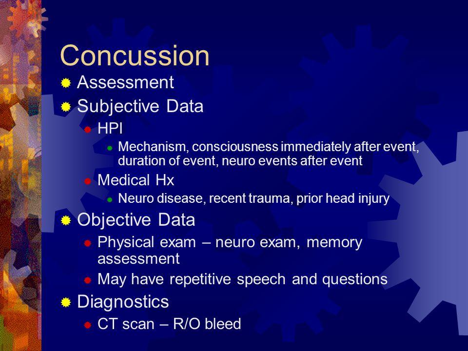 Concussion Assessment Subjective Data Objective Data Diagnostics HPI