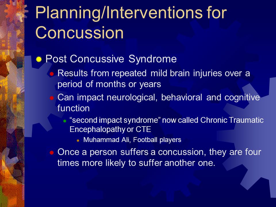 Planning/Interventions for Concussion