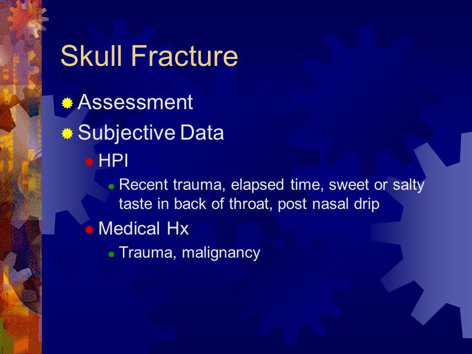 Skull Fracture Assessment Subjective Data HPI Medical Hx
