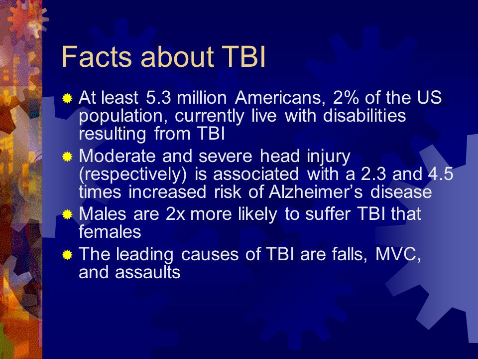 Facts about TBI At least 5.3 million Americans, 2% of the US population, currently live with disabilities resulting from TBI.