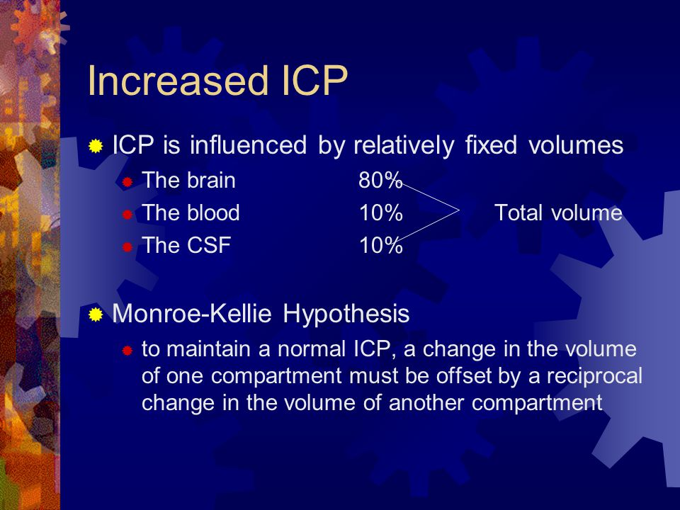 Increased ICP ICP is influenced by relatively fixed volumes