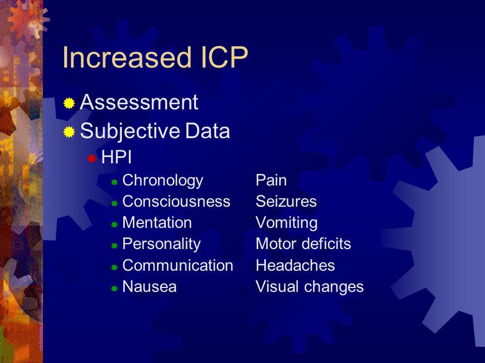 Increased ICP Assessment Subjective Data HPI Chronology Pain