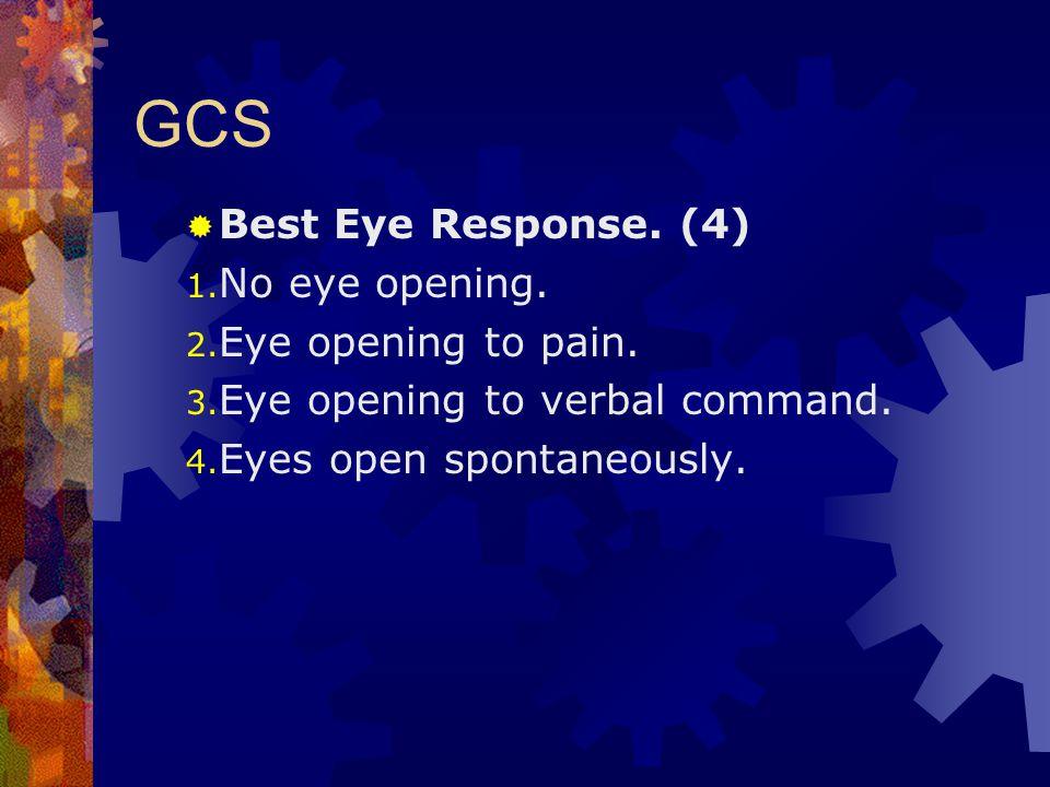 GCS Best Eye Response. (4) No eye opening. Eye opening to pain.