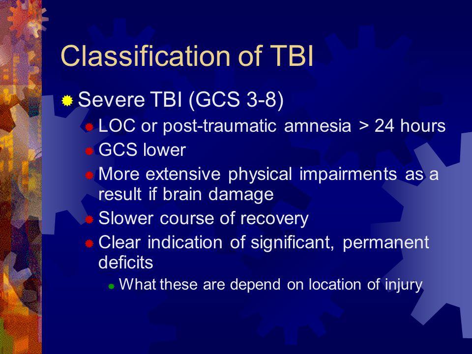 Classification of TBI Severe TBI (GCS 3-8)
