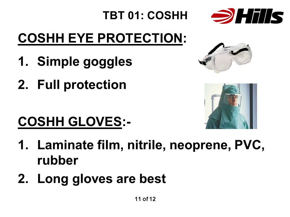Laminate film, nitrile, neoprene, PVC, rubber Long gloves are best